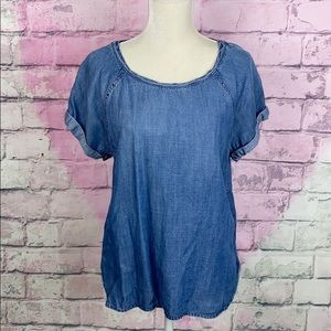 Cloth & Stone chambray short sleeve tunic top